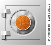 hud golden bitcoin armored box. ... | Shutterstock .eps vector #1105860173
