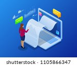 isometric receipt of statistics ... | Shutterstock .eps vector #1105866347
