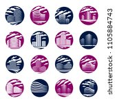 futuristic building round shape ...   Shutterstock .eps vector #1105884743