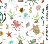 seamless pattern with sea...   Shutterstock .eps vector #1105895807
