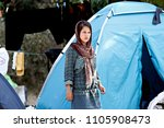 refugees and migrants rest in...   Shutterstock . vector #1105908473