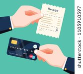hand holding receipt and hand... | Shutterstock .eps vector #1105910597