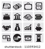 vector black business financial icons set on gray - stock vector