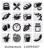 vector black food icons se on gray
