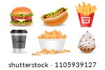 fast food set  hamburger  hot... | Shutterstock .eps vector #1105939127