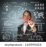 business man writing success by ... | Shutterstock . vector #110595323