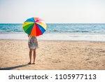 cute asian girl in white dress... | Shutterstock . vector #1105977113
