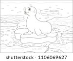 seal on a drifting ice floe in... | Shutterstock .eps vector #1106069627