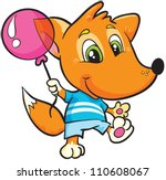 vector illustration-  little cartoon fox with pink ball in T-shirt and shorts on white background - stock vector