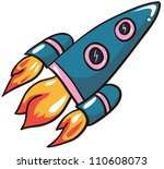 vector illustration-  cartoon rocket on white background - stock vector