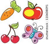 Vector illustration - set of   isolated  cartoon fruits and vegetables on white background - stock vector