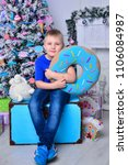happy emotional six years boy... | Shutterstock . vector #1106084987