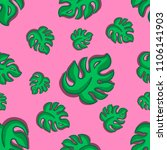 tropical leaves fashion pattern | Shutterstock . vector #1106141903