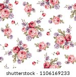 roses pattern bunch of flowers  ... | Shutterstock .eps vector #1106169233