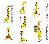 giraffe cartoon character set...   Shutterstock .eps vector #1106184767