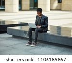 young african man sitting on...   Shutterstock . vector #1106189867