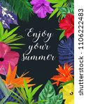 floral card with frame for text ... | Shutterstock . vector #1106222483
