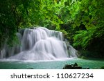 waterfall in freshgreen forest  Thailand - stock photo