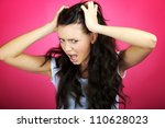 very angry frustrated young woman - stock photo