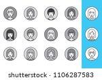 a set of female avatars  in...   Shutterstock . vector #1106287583
