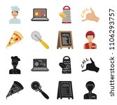 a pizza cutter  a slice  a menu ... | Shutterstock .eps vector #1106293757