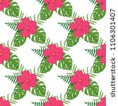 tropical flowers  palm leaves ... | Shutterstock . vector #1106301407