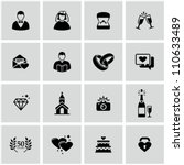 Wedding icons set. - stock vector