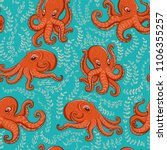 fun orange octopus on turquoise ... | Shutterstock .eps vector #1106355257