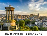View of the castle from Calton Hill at sunset - stock photo