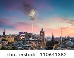 Fireworks over Edinburgh Castle during the Military Tattoo - stock photo