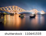 The Forth Road Bridge by night - stock photo