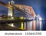 Night over the Forth Road Bridge - stock photo