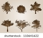 Vector concept or conceptual set of old,vintage and grungy brown trees isolated on a beige background, ideal for grunge,season,natural,summer or autumn designs.A collection of ancient silhouettes - stock vector