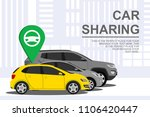 car sharing banner with auto.... | Shutterstock .eps vector #1106420447