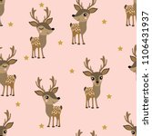 cute deer and star seamless... | Shutterstock .eps vector #1106431937