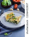 Small photo of Delicious homemade lasagne with ricotta cheese and spinach on blue stone concreet table background. Vegetarian Food. Italian Food