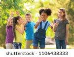 cute little children playing... | Shutterstock . vector #1106438333