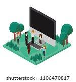 desktop computer with camp... | Shutterstock .eps vector #1106470817