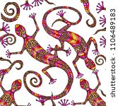 hand drawn lizard elements with ... | Shutterstock .eps vector #1106489183