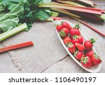 strawberry and rhubab top view | Shutterstock . vector #1106490197