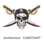 smiling human skull and crossed ... | Shutterstock .eps vector #1106572697