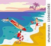 beach lifeguards isometric...   Shutterstock .eps vector #1106601083