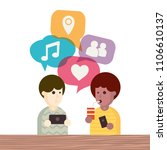 two people avatars chatting.... | Shutterstock .eps vector #1106610137