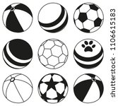 black and white rubber ball... | Shutterstock .eps vector #1106615183
