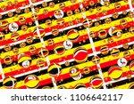 flags  of uganda  behind a... | Shutterstock . vector #1106642117