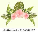 set of green tropical leaves ...   Shutterstock .eps vector #1106684117