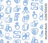 hands gestures seamless pattern ... | Shutterstock .eps vector #1106702633