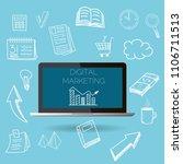 digital marketing vector laptop ... | Shutterstock .eps vector #1106711513