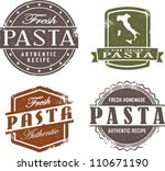 Fresh Italian Pasta Stamp - stock vector