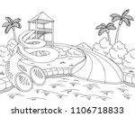 aqua park graphic black white... | Shutterstock .eps vector #1106718833